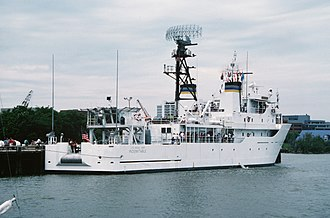 USNS Indomitable (T-AGOS-7) - Indomitable in 1998 after removal of SURTASS and addition of AN/SPS-49 radar for counter-drug surveillance