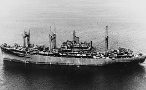 USS Klondike (AD-22) at anchor in August 1945 (NH 107747).jpg