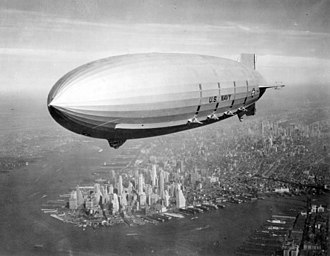 Akron-class airship - Macon cruising over Manhattan in the summer of 1933