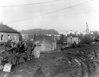 Battle of Elsenborn Ridge - A towed M5 three-inch gun of the U.S. 7th Armored Division on 23 December 1944 in Vielsalm, Belgium.