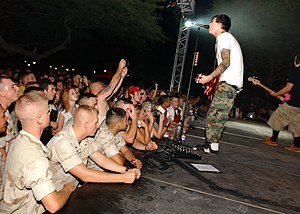 Blink-182 (album) - The band performing in Bahrain for sailors and marines in August 2003.