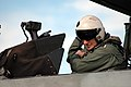 US Navy 050211-N-5431H-002 Commander, U.S. Fleet Forces Command, Adm. William J. Fallon adjusts his seats straps in the backseat of an F-14D Tomcat on board Naval Air Station Oceana, Va.jpg