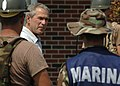 US Navy 050912-N-6925C-003 President George W. Bush speaks to U.S. Navy Seabees, assigned to Naval Mobile Construction Battalion One (NMCB-1) and marines from the Federal Republic of Mexico, on their clean up efforts.jpg