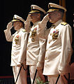 US Navy 060629-N-3659B-097 Chief of Naval Personnel, Deputy Chief of Naval Operations, Vice Adm. John C. Harvey Jr., left, Rear Adm. Jeffrey L. Fowler, and Rear Adm. Joseph F. Kilkenny salute the National Ensign.jpg