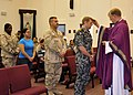 US Navy 100217-N-8977L-002 Lt. Cmdr. Ronald Stake, a Navy chaplain, holds Ash Wednesday Mass at Naval Support Activity Bahrain to mark the beginning of Lent.jpg
