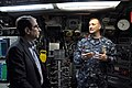 US Navy 100224-N-7915T-048 U.S. Ambassador to Spain and Andorra Alan D. Solomont talks with Fire Control Technician Thomas Willey during a tour of the Los Angeles-class attack submarine USS Albany (SSN 753).jpg
