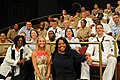 US Navy 100527-N-1831S-236 Whoopi Goldberg, Elisabeth Hasselbeck and Sherri Shephard hosts of the ABC talk show, The View, pose with Sailors, Marines, and Coast Guardsmen attending a live taping of the show.jpg