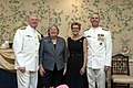 US Navy 110923-N-ZB612-717 Chief of Naval Operations (CNO) Adm. Gary Roughead and his wife, Ellen, pose for a photo with Adm. Jonathan W. Greenert.jpg