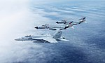 US Navy FA-18E of VFA-195 in flight with JASDF F-4EJ Kais of 302nd Squadron in April 2016.JPG