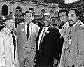 Unidentified man, Mayor Raymond L. Flynn, Chicago Mayor Harold Washington, two unidentified men (9519692588).jpg