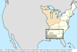 Map of the change to the United States in central North America on April 7, 1798