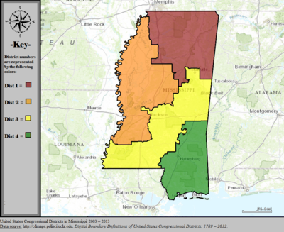 Mississippis Congressional Districts Wikipedia - Us mississippi map