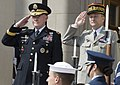 United States General Martin Dempsey and French General Pierre de Villiers saluting (23 April 2014, cropped).jpg