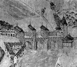 Untertorbrücke - The fortified bridge as depicted on a map from 1600.
