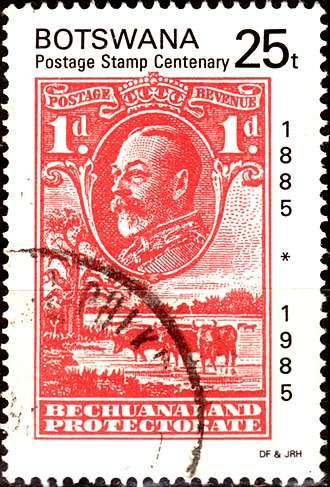 Postage stamps and postal history of Botswana - A used 1985 stamp for the centenary of the first Bechuanaland stamps, depicting a George V stamp for the Bechuanaland Protectorate.