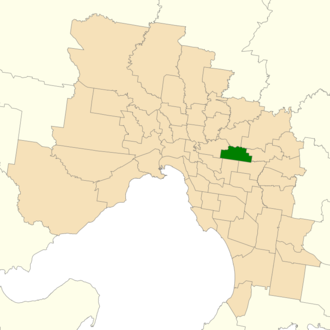 Electoral district of Box Hill - Location of Box Hill (dark green) in Greater Melbourne