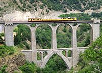 Viaduc sejourne , train jaune, fontpedrouse.jpg