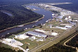 Aerial view of Vicksburg Harbor