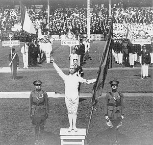 Victor Boin - Boin delivering the first Olympic Oath, Antwerp, 1920.