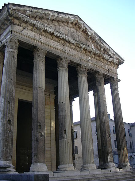 Temple of Augustus and Livia, Vienne (modern France). Originally dedicated to Augustus and Roma. Augustus was deified on his death in 14 AD: his widow Livia was deified in 42 AD by Claudius. Vienne - Templo romano de Tito y Livia - Fachada.JPG