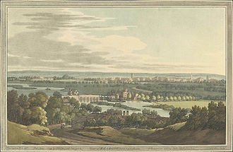 Reading, Berkshire - View of Reading from Caversham by Joseph Farington in 1793