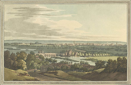 View of Reading from Caversham by Joseph Farington in 1793.