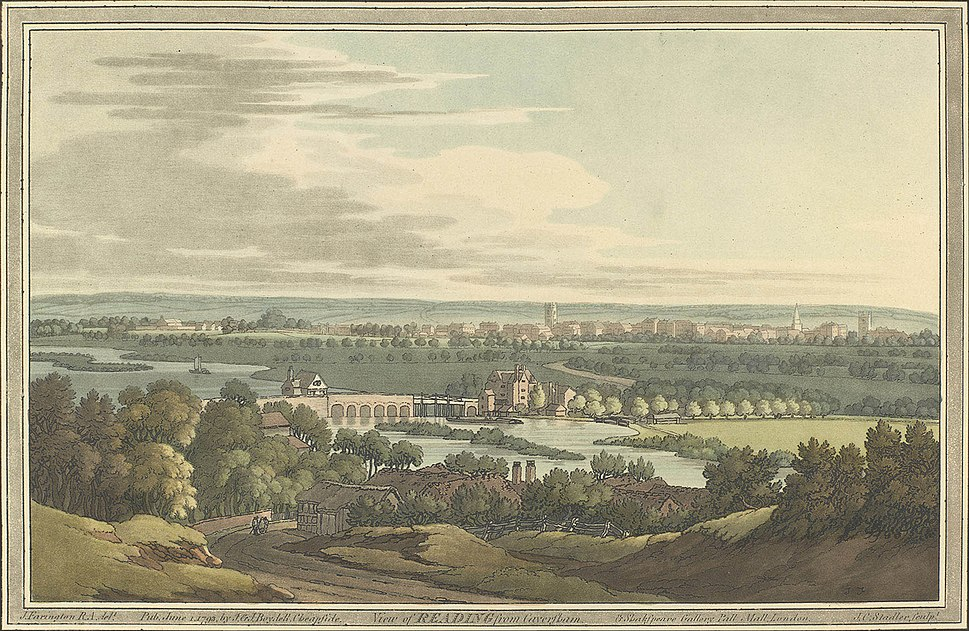 View of Reading from Caversham by Joseph Farington, 1793