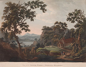 Swansea - A romanticised depiction of early copper smelting works in the Lower Swansea Valley, c. 1800