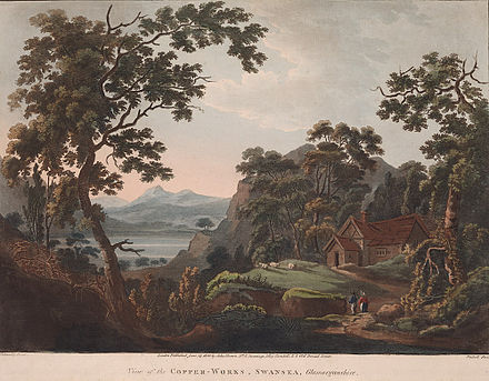 A romanticised depiction of early copper smelting works in the Lower Swansea Valley (c. 1800) View of the Copper-works, Swansea, Glamorganshire.jpeg