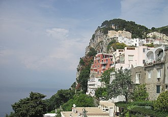 Capri - In 1909–1911 Maxim Gorky lived on Capri at villa Behring (burgundy)