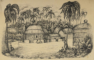 Architecture of Bangladesh - Village in a clearing Sundarbans, by Frederic Peter Layard, January 1839