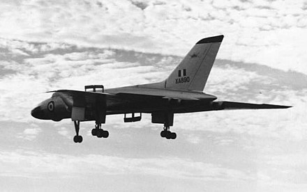"Vulcan B.1 XA890 in early silver scheme landing at Farnborough in September 1955 after Roly Falk's ""aerobatic"" display. Note the lower outer starboard airbrake, which was later deleted."