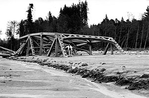 Washington State Route 504 - Destroyed truss bridge previously on SR 504 following the Mount St. Helens eruption