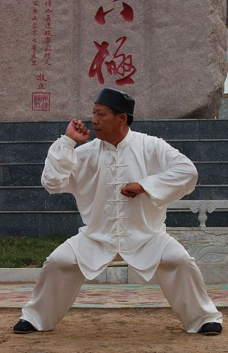 Bajiquan - Master Wu Lian-Zhi in the typical stance of Baji Quan style.