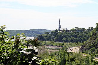 Sillery, Quebec City - Saint-Michel de Sillery Church and the Saint Lawrence River