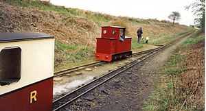 Wells and Walsingham Light Railway - Weasel at Walsingham in the 1990s, before rebuilding.
