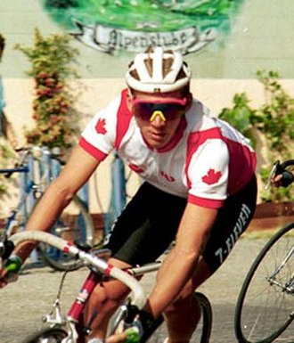 Brian Walton (cyclist) - Brian Walton riding in the Canadian road champion jersey for 7-Eleven in the 1988 Tour de White Rock, White Rock, BC.
