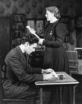 Richard Waring - Richard Waring and Ethel Barrymore in the Broadway production of The Corn Is Green (1940)