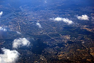 Anacostia River - Aerial view of Southeast DC in 2009 showing the progress of the Anacostia River