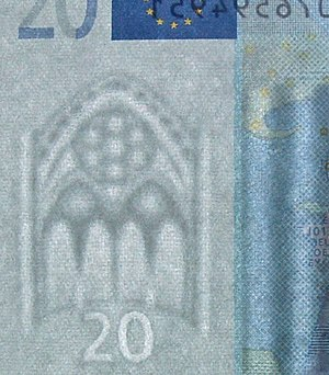 Watermark - A twenty euro banknote held against the light to show the watermark and the denomination.