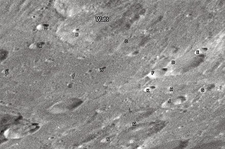 "Watt crater and its satellite craters taken from Earth in 2012 at the University of Hertfordshire's Bayfordbury Observatory with the telescopes Meade LX200 14"" and Lumenera Skynyx 2-1 Watt lunar crater map.jpg"