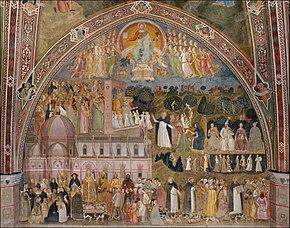 df6e75ba63a Fresco by Andrea di Bonaiuto da Firenze in the Spanish Chapel: Allegory of  the Active and Triumphant Church and of the Dominican order (c. 1365)
