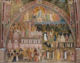 Churches Militant, Penitent, and Triumphant - The Church Militant and the Church Triumphant, fresco by Andrea da Firenze in Santa Maria Novella, c. 1365