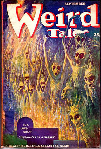 "H. P. Lovecraft bibliography - Lovecraft's poem ""Hallowe'en in a Suburb"" was cover-featured on the September 1952 Weird Tales"