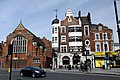 Welbeck Mansions with Sacred Heart High School in Hammersmith Road in London, spring 2013.JPG