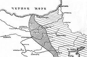 Western Armenia - The area of Russian occupation of Western Armenia in summer 1916 (Russian map).