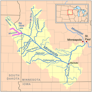 Whetstone River - Map of the Minnesota River watershed with the Whetstone River highlighted (including the North and South forks)
