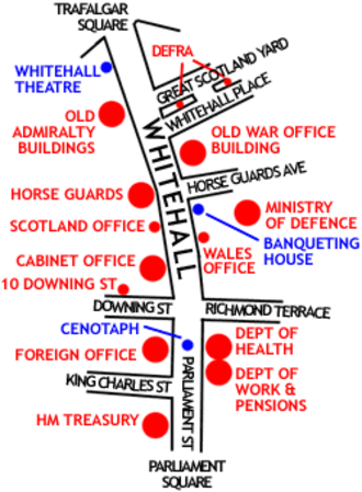 """Admiralty House, London - 2005 sketch map of Whitehall, London, noting the positions of major UK Government buildings. Admiral House is one of the """"Old Admiralty Buildings"""" located in the upper left of the map."""