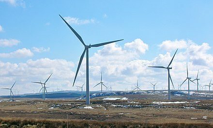Whitelee Wind Farm is the largest onshore wind farm on the British isles. Whitelee - Wind turbines - looking south.JPG