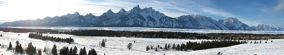 Panoramic view of the Teton Range looking west from Jackson Hole, Grand Teton National Park